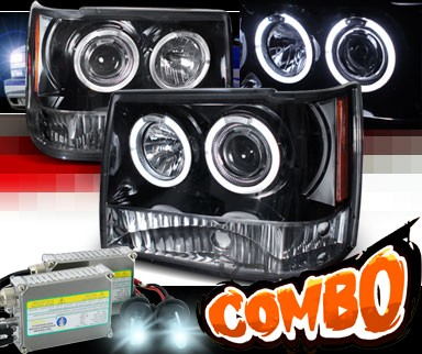HID Xenon + SPEC-D® Halo LED Projector Headlights (Glossy Black) - 93-98 Jeep Grand Cherokee