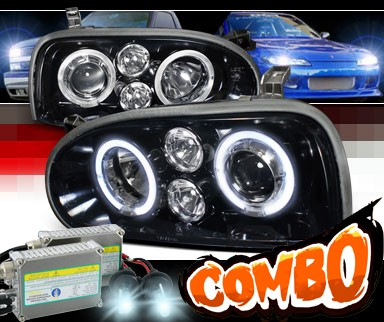 HID Xenon + SPEC-D® Halo LED Projector Headlights (Glossy Black) - 93-98 VW Volkswagen Golf