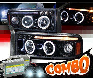 HID Xenon + SPEC-D® Halo LED Projector Headlights (Glossy Black) - 94-01 Dodge Ram 2500 / 3500 Pickup