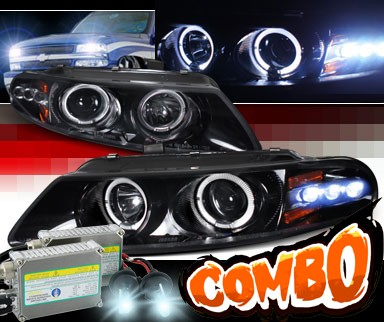 HID Xenon + SPEC-D® Halo LED Projector Headlights (Glossy Black) - 97-00 Dodge Avenger
