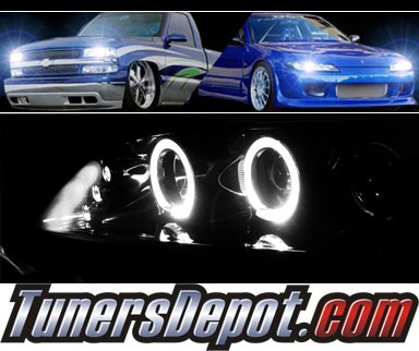 HID Xenon + SPEC-D® Halo LED Projector Headlights (Glossy Black) - 98-02 Honda Accord