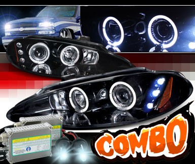 HID Xenon + SPEC-D® Halo LED Projector Headlights (Glossy Black) - 98-04 Dodge Intrepid