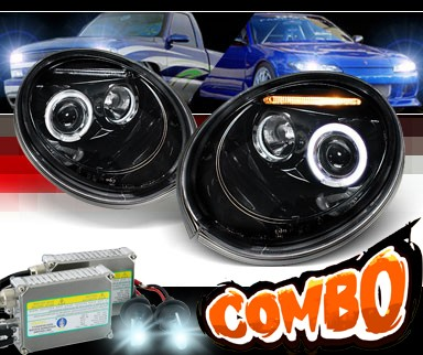 HID Xenon + SPEC-D® Halo LED Projector Headlights (Glossy Black) - 98-05 VW Volkswagen Beetle