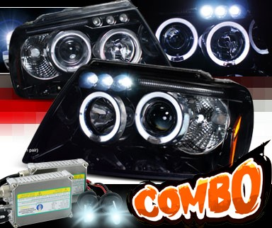HID Xenon + SPEC-D® Halo LED Projector Headlights (Glossy Black) - 99-04 Jeep Grand Cherokee