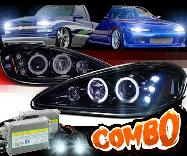 HID Xenon + SPEC-D® Halo LED Projector Headlights (Glossy Black) - 99-05 Pontiac Grand Am