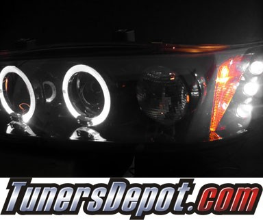 HID Xenon + SPEC-D® Halo LED Projector Headlights (Glossy Black/Smoke) - 94-97 Honda Accord