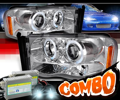 HID Xenon + SPEC-D® Halo Projector Headlights - 02-05 Dodge Ram 1500 Pickup