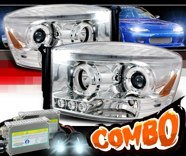 HID Xenon + SPEC-D® Halo Projector Headlights - 06-08 Dodge Ram Pickup
