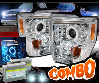 HID Xenon + SPEC-D® Halo Projector Headlights - 08-10 Ford F-350 F350 Super Duty