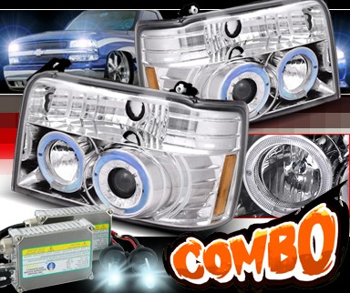 HID Xenon + SPEC-D® Halo Projector Headlights - 92-96 Ford F450 F-450