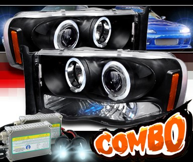 HID Xenon + SPEC-D® Halo Projector Headlights (Black) - 03-05 Dodge Ram 2500 / 3500 Pickup