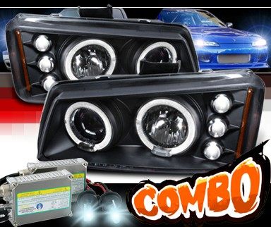 HID Xenon + SPEC-D® Halo Projector Headlights (Black) - 03-06 Chevy Silverado