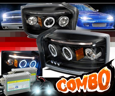 HID Xenon + SPEC-D® Halo Projector Headlights (Black) - 05-07 Dodge Dakota