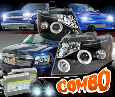 HID Xenon + SPEC-D® Halo Projector Headlights (Black) - 07-10 Chevy Suburban