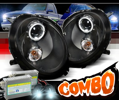 HID Xenon + SPEC-D® Halo Projector Headlights (Black) - 07-12 Mini Cooper 2dr (Incl. Convertible)
