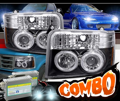 HID Xenon + SPEC-D® Halo Projector Headlights (Black) - 92-96 Ford Bronco