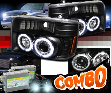 HID Xenon + SPEC-D® Halo Projector Headlights (Black) - 92-96 Ford F250 F-250 (Version 2)