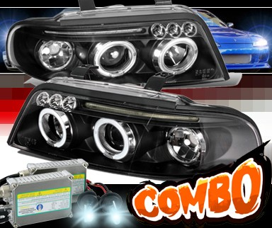 HID Xenon + SPEC-D® Halo Projector Headlights (Black) - 99-01 Audi A4 with 1 Piece Headlight