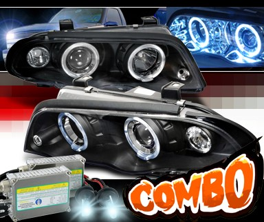 HID Xenon + SPEC-D® Halo Projector Headlights (Black) - 99-01 BMW 323i E46 4dr.