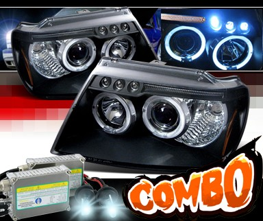 HID Xenon + SPEC-D® Halo Projector Headlights (Black) - 99-04 Jeep Grand Cherokee