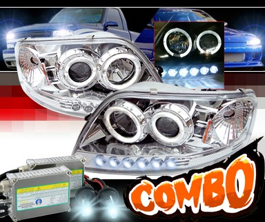 HID Xenon + Sonar® 1 pc Halo Projector Headlights - 97-02 Ford Expedition