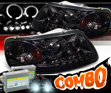 HID Xenon + Sonar® 1 pc Halo Projector Headlights (Smoke) - 97-03 Ford F-150 F150