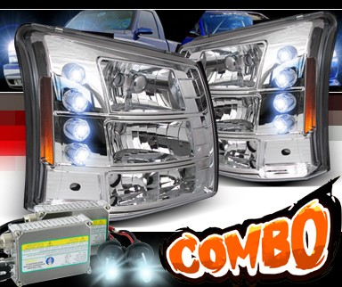 HID Xenon + Sonar® 1 pc LED Crystal Headlights - 03-06 Chevy Silverado (Black Vertical Grill Included)