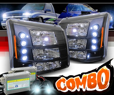 HID Xenon + Sonar® 1 pc LED Crystal Headlights (Black) - 03-06 Chevy Silverado (Chrome Vertical Grill Included)