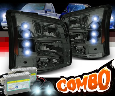 HID Xenon + Sonar® 1 pc LED Crystal Headlights (Smoke) - 03-06 Chevy Silverado (Chrome Vertical Grill Included)
