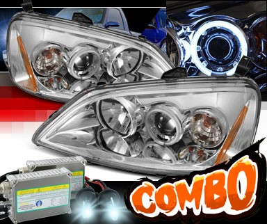HID Xenon + Sonar® CCFL Halo Projector Headlights - 01-03 Honda Civic 2/4dr