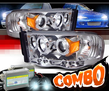 HID Xenon + Sonar® CCFL Halo Projector Headlights - 02-05 Dodge Ram 1500 Pickup