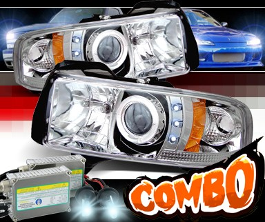 HID Xenon + Sonar® CCFL Halo Projector Headlights - 94-01 Dodge Ram 2500 / 3500 Pickup