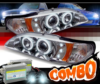 HID Xenon + Sonar® CCFL Halo Projector Headlights - 94-98 Ford Mustang