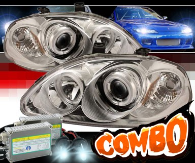 HID Xenon + Sonar® CCFL Halo Projector Headlights - 96-98 Honda Civic