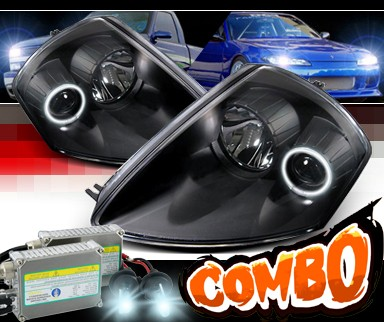 HID Xenon + Sonar® CCFL Halo Projector Headlights (Black) -  00-05 Mitsubishi Eclipse