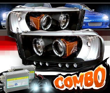 HID Xenon + Sonar® CCFL Halo Projector Headlights (Black) - 03-05 Dodge Ram 2500 / 3500 Pickup