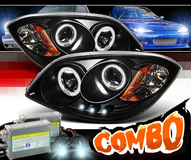 HID Xenon + Sonar® CCFL Halo Projector Headlights (Black) - 05-10 Chevy Cobalt