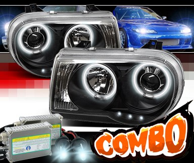 HID Xenon + Sonar® CCFL Halo Projector Headlights (Black) - 05-10 Chrysler 300C