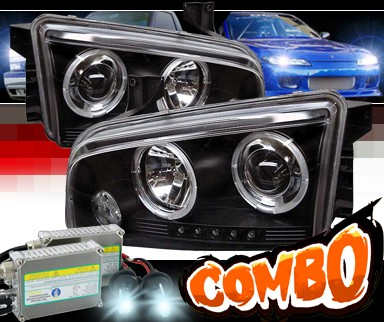 HID Xenon + Sonar® CCFL Halo Projector Headlights (Black) - 06-10 Dodge Charger
