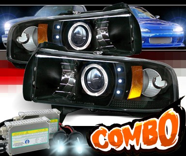 HID Xenon + Sonar® CCFL Halo Projector Headlights (Black) - 94-01 Dodge Ram 1500 Pickup