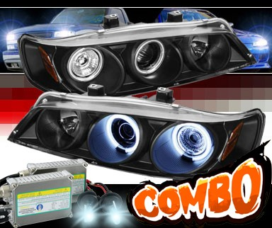 HID Xenon + Sonar® CCFL Halo Projector Headlights (Black) - 94-97 Honda Accord