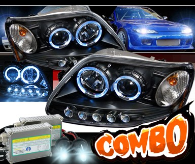 HID Xenon + Sonar® CCFL Halo Projector Headlights (Black) - 97-03 Ford F150 F-150