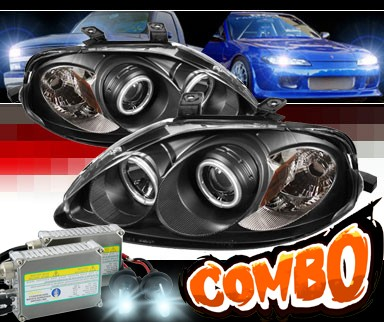 HID Xenon + Sonar® CCFL Halo Projector Headlights (Black) - 99-00 Honda Civic