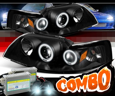 HID Xenon + Sonar® CCFL Halo Projector Headlights (Black) - 99-04 Ford Mustang