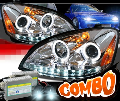 HID Xenon + Sonar® DRL LED Halo Projector Headlights - 02-04 Nissan Altima