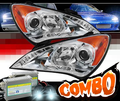 HID Xenon + Sonar® DRL LED Halo Projector Headlights - 10-12 Hyundai Genesis 2dr Coupe
