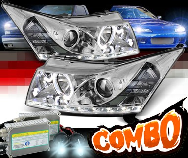HID Xenon + Sonar® DRL LED Halo Projector Headlights - 11-15 Chevy Cruze