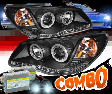 HID Xenon + Sonar® DRL LED Halo Projector Headlights (Black) - 07-10 Hyundai Elantra
