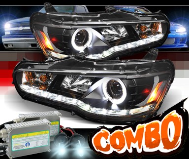 HID Xenon + Sonar® DRL LED Halo Projector Headlights (Black) - 08-13 Mitsubishi Lancer Evolution EVO X (w/o Stock HID)