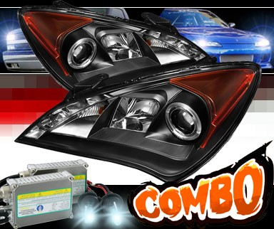 HID Xenon + Sonar® DRL LED Halo Projector Headlights (Black) - 10-12 Hyundai Genesis  2dr Coupe